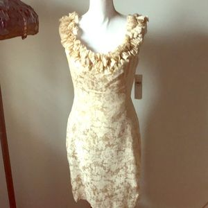 Party dress in gold and cream